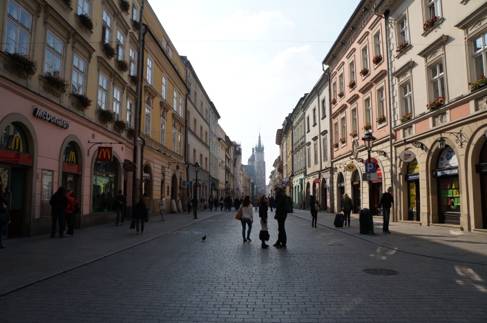 A shopping street in Kraków's old town