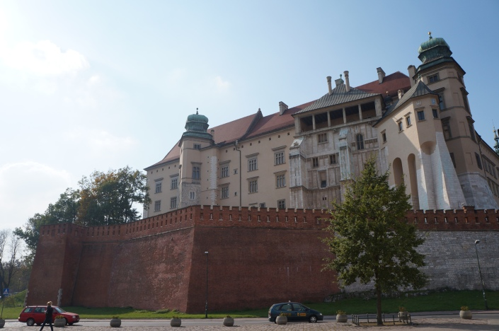 Wawel Castle as viewed from the foot of the hill