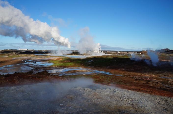 Geothermal plant harvesting energy